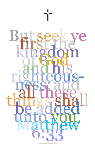 "Bible Digital Art Print #35 Matthew 6:33, ""But seek ye first..."""