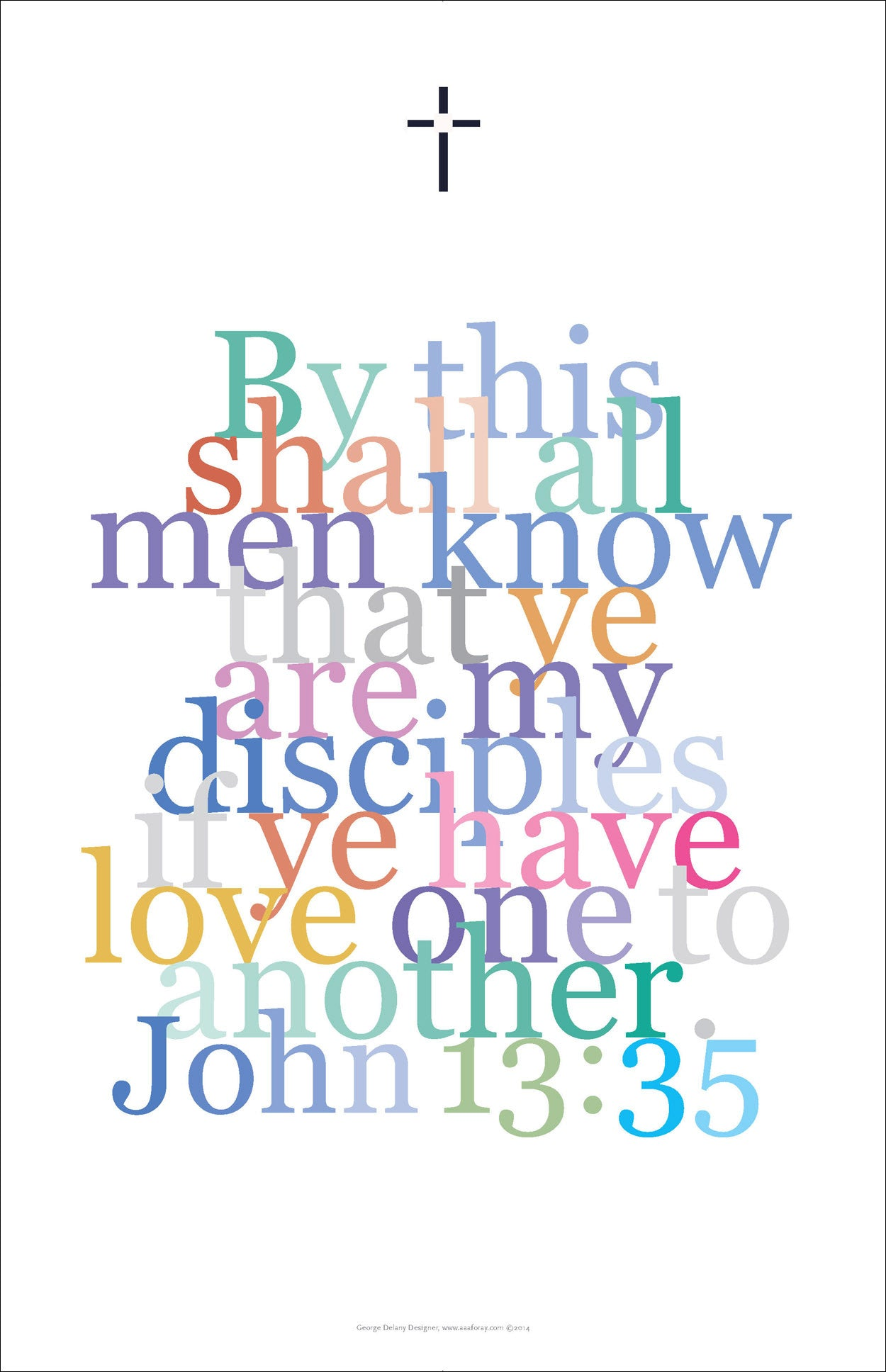 "Bible Digital Art Print #37, John 13:35, ""By this shall all men know..."""