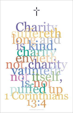 "Bible Digital Art Print #38, 1 Corinthians 13:4, ""Charity suffereth long.."""