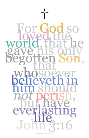 Biblical Art Print #4 John 3:16 For God So Loved...