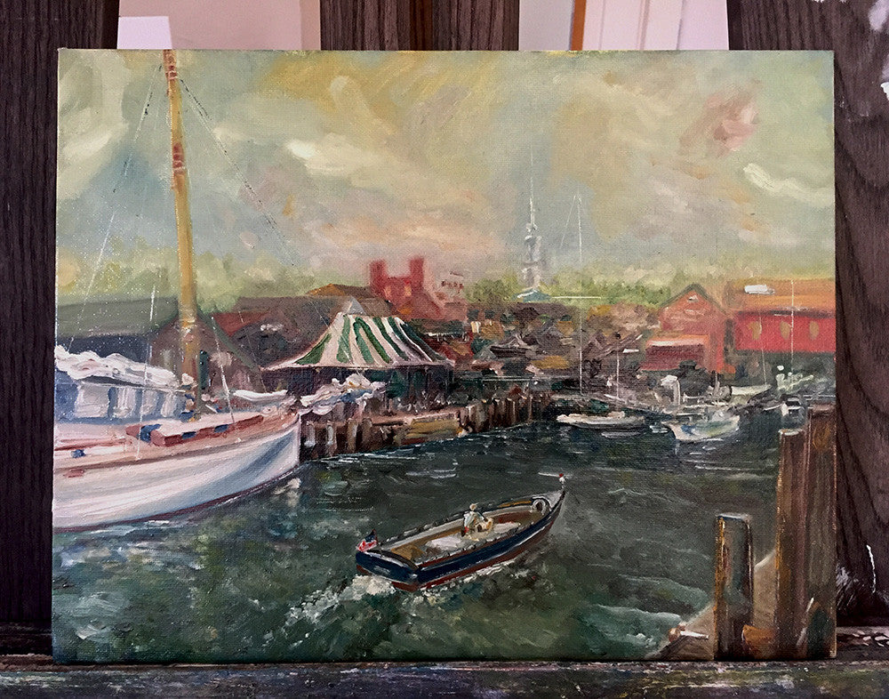 "Fine Art ""Bowen's Wharf in Summer"" Oil on Board"