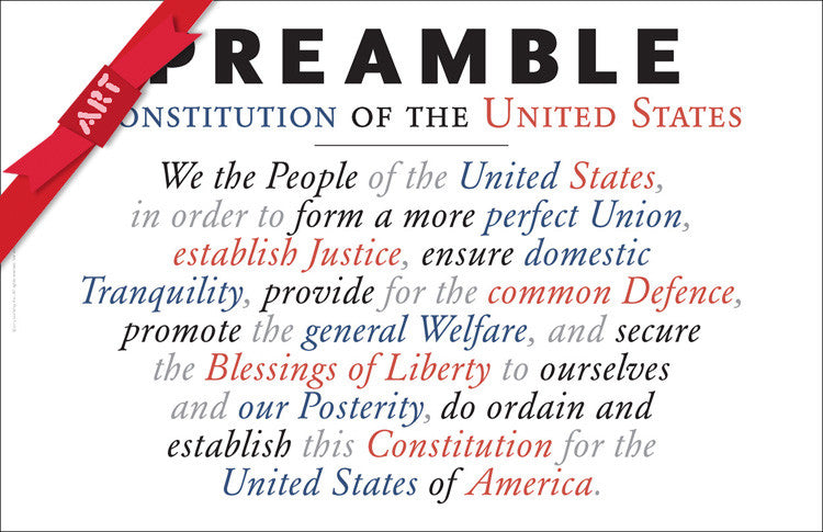 Preamble to Constitution of United States Wall Decor #A161