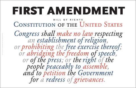 First Amendment to the US Constitution Wall Art #A162