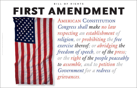 First Amendment to the US Constitution With Flag #A165