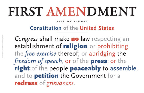 First Amendment to US Constitution Wall Art #A166