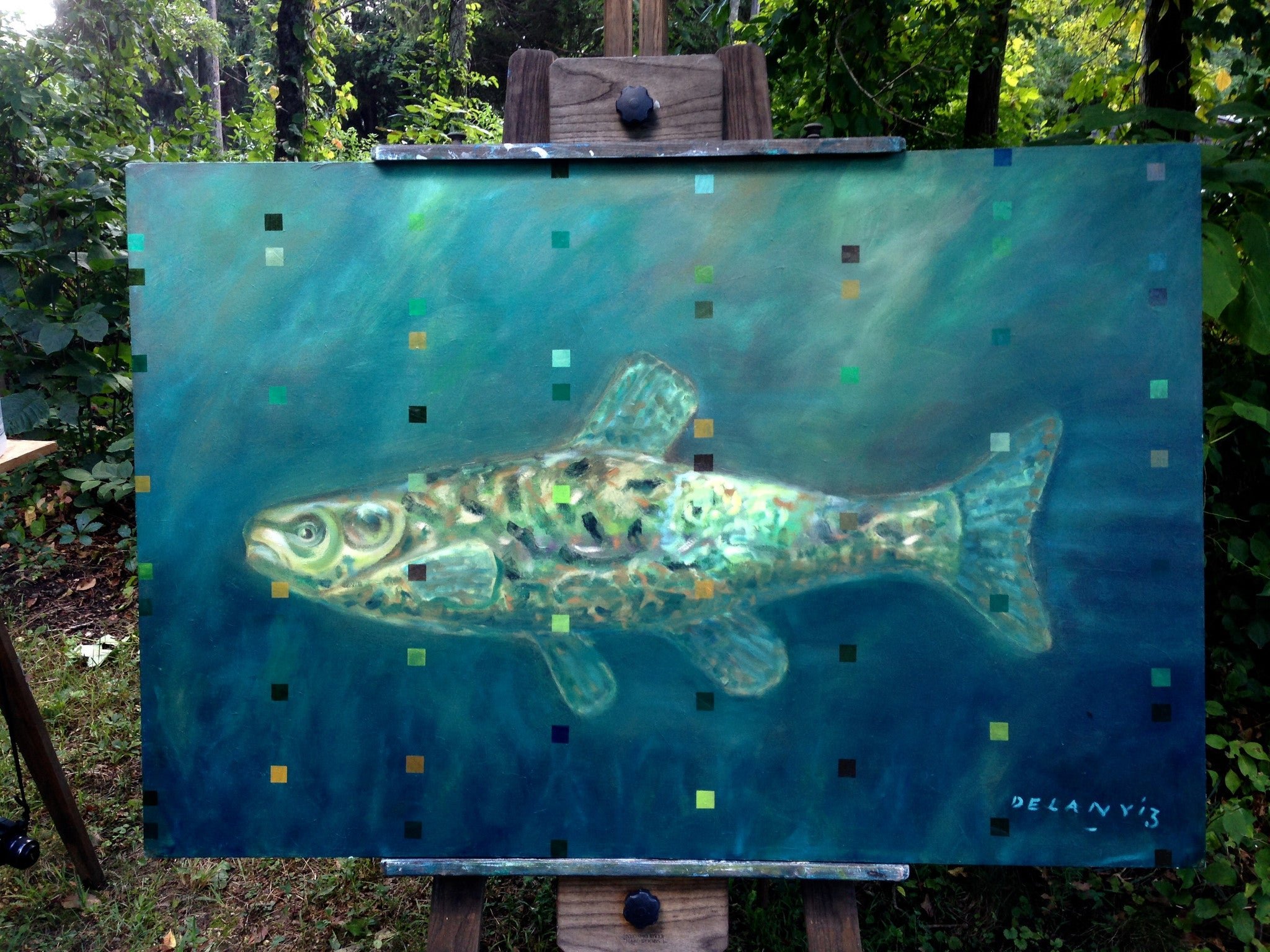 "Fine Art, ""My Minnow"" Oil on Canvas"