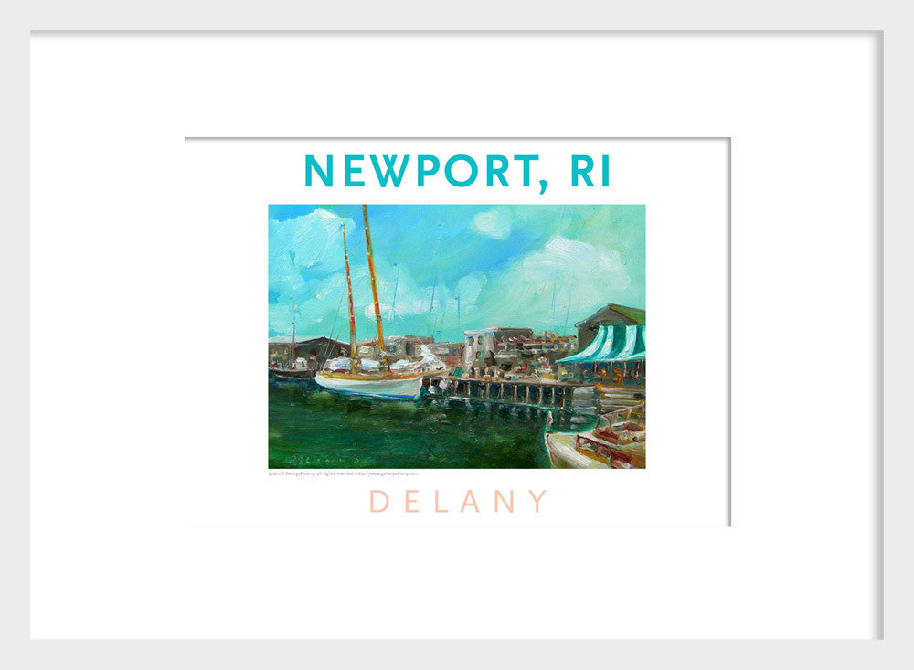 Work in Oil Home Decor Print #566 Bannister's Wharf, Newport, RI