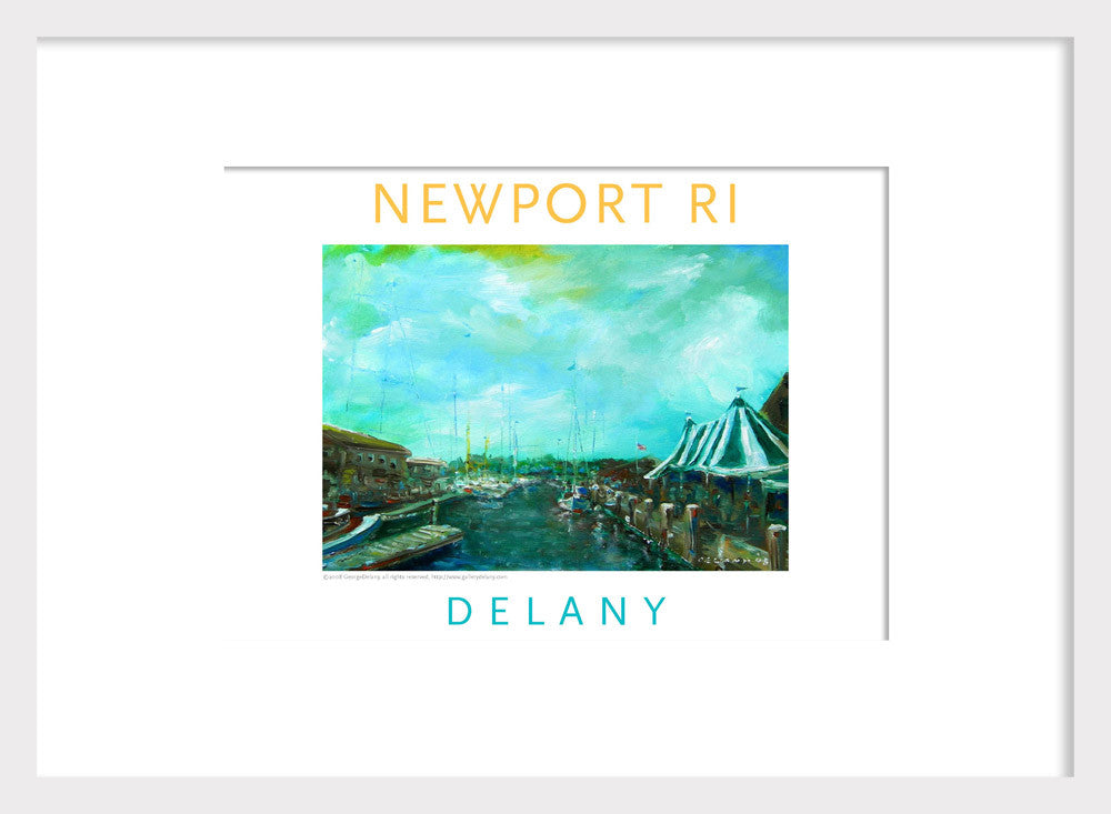 Work in Oil Wall Decor Print #568 Newport Harbor, Newport, RI