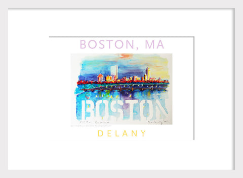 Boston Skyline, Watercolor on Paper, #walldecor #595