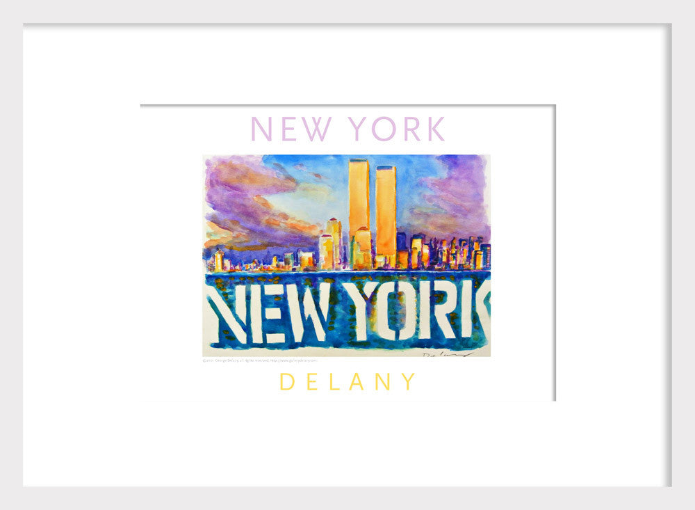 New York Skyline, Watercolor on Paper, #walldecor #596