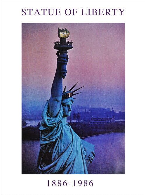Statue of Liberty Pink Sky Offset Wall Art