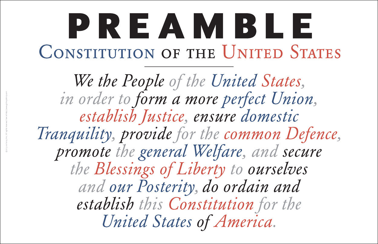 Preamble to the US Constitution as Wall Art #A169 – Gallery Delany