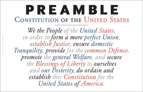 Preamble to the US Constitution as Wall Art #A169