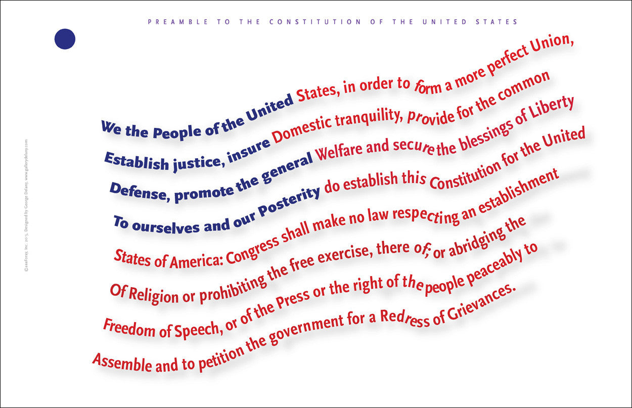 Preamble to the US Constitution Wall Art A161