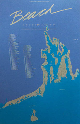"RI 350th Anniversary ""Beach"" Screen Printed Poster S O L D   O U T"