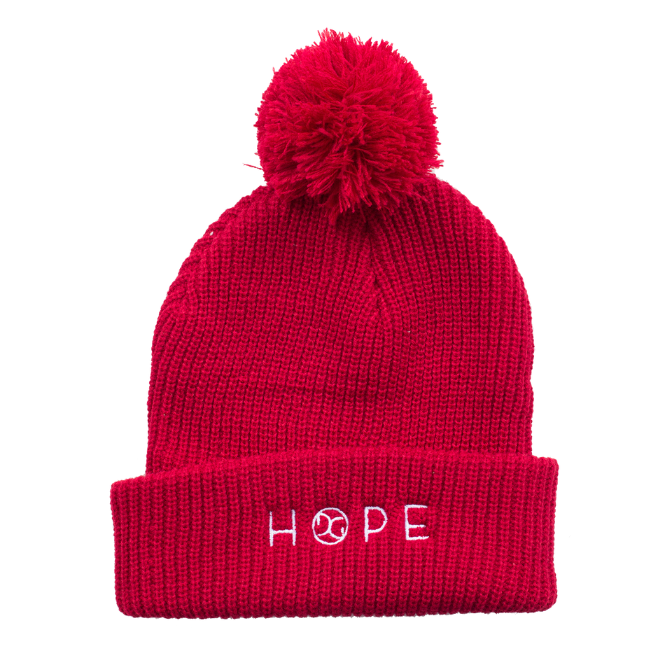 HOPE Red Pom Pom Beanie