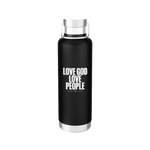 Love God Love People Water Bottle - Black