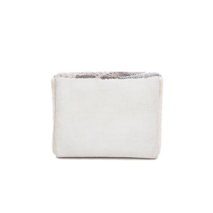Ivory and Silver Elm Leaf Box Bag - clutch-it-india