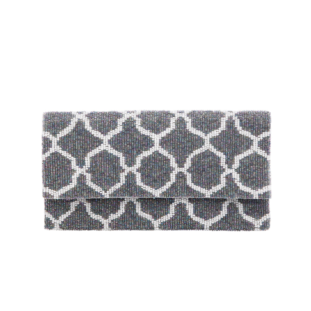 White and Silver Zarza Clutch - clutch-it-india
