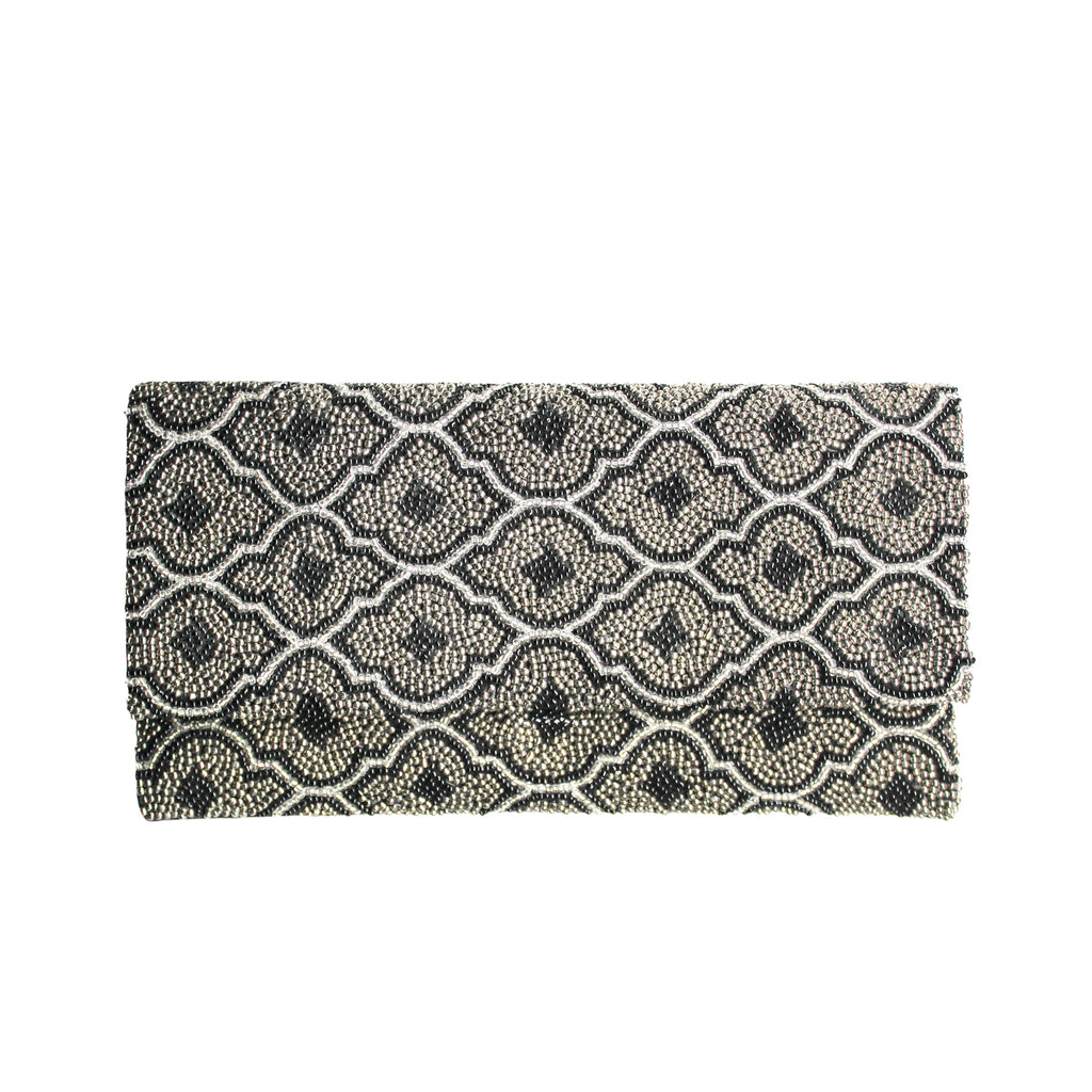 Black and Silver Nozomi Clutch - clutch-it-india