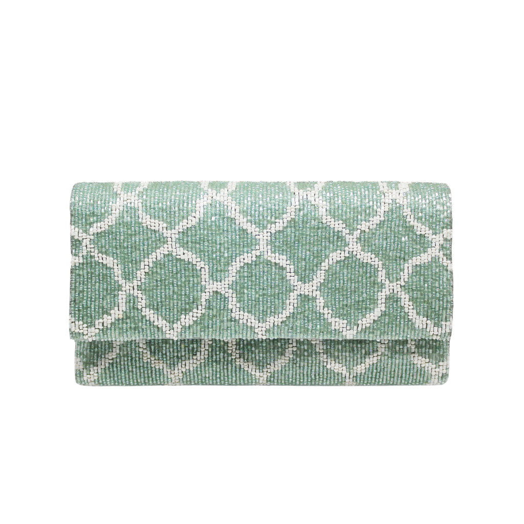 Ash Grey and White Zarza Clutch - clutch-it-india