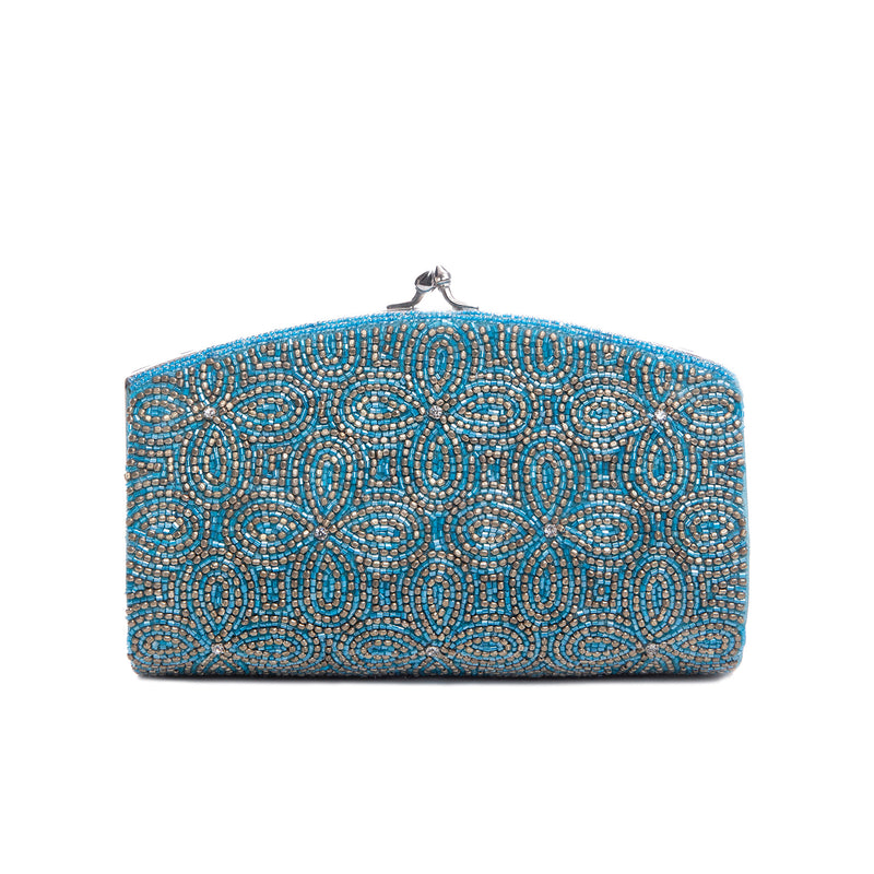Turquoise Columbine Flower Clutch - clutch-it-india