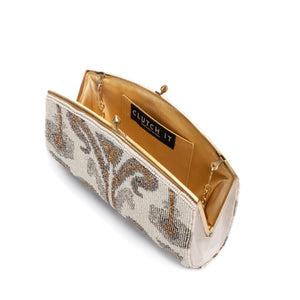 Ivory and Gold Krystal Clutch - clutch-it-india