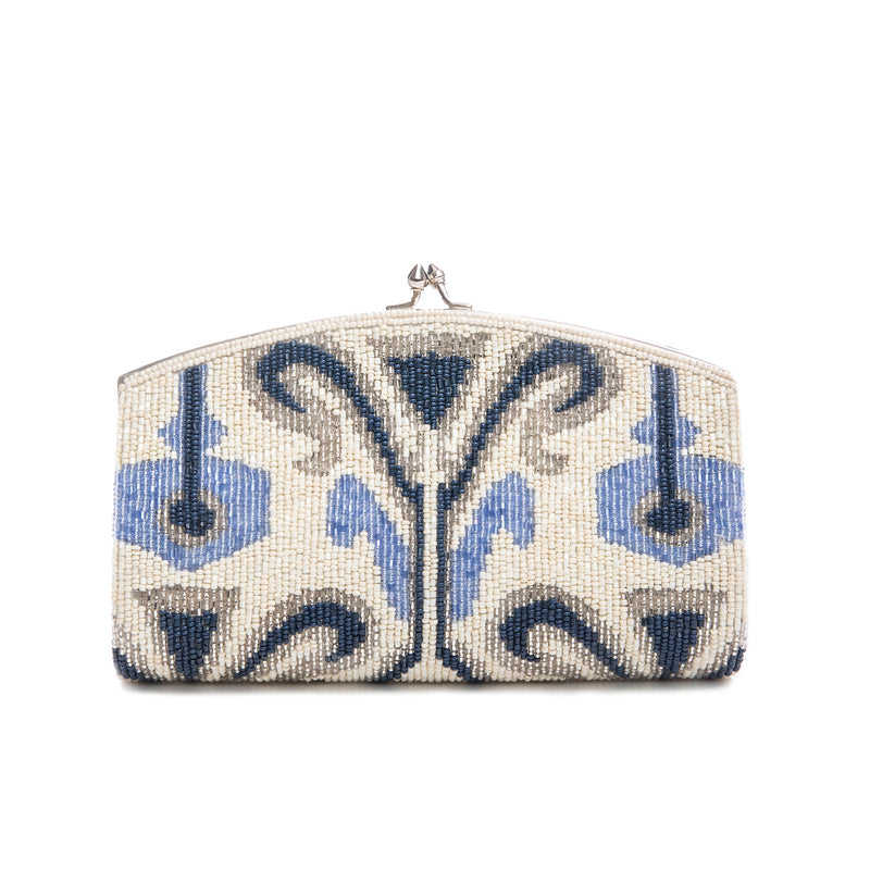 Ivory and Blue Krystal Clutch - clutch-it-india