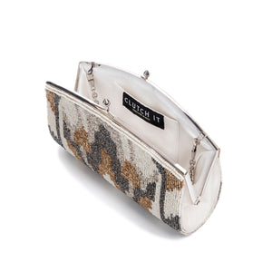 White and Gold Serenetic Clutch - clutch-it-india