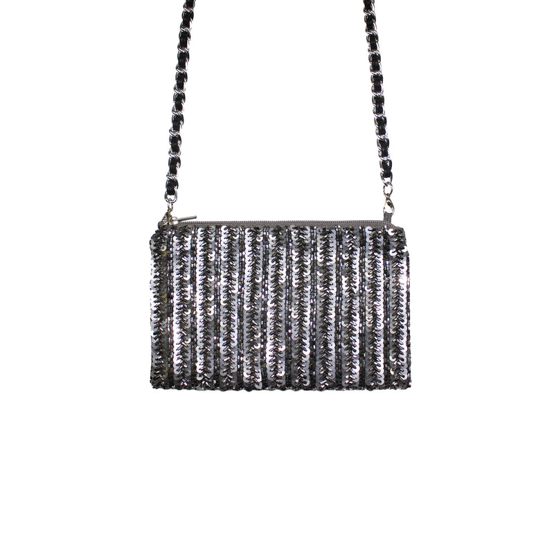 Pewter Glam Crossbody Bag