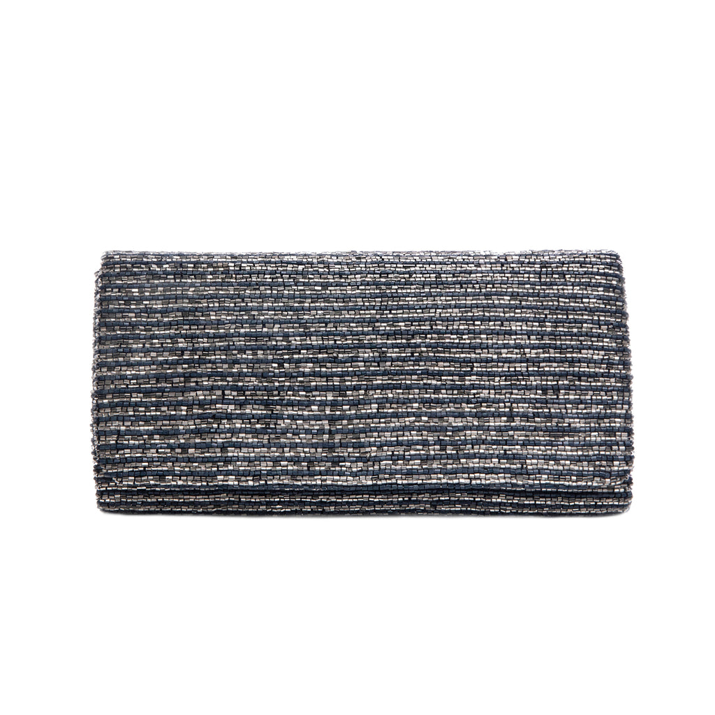 Navy and Silver Three Layered Ocean Clutch - clutch-it-india