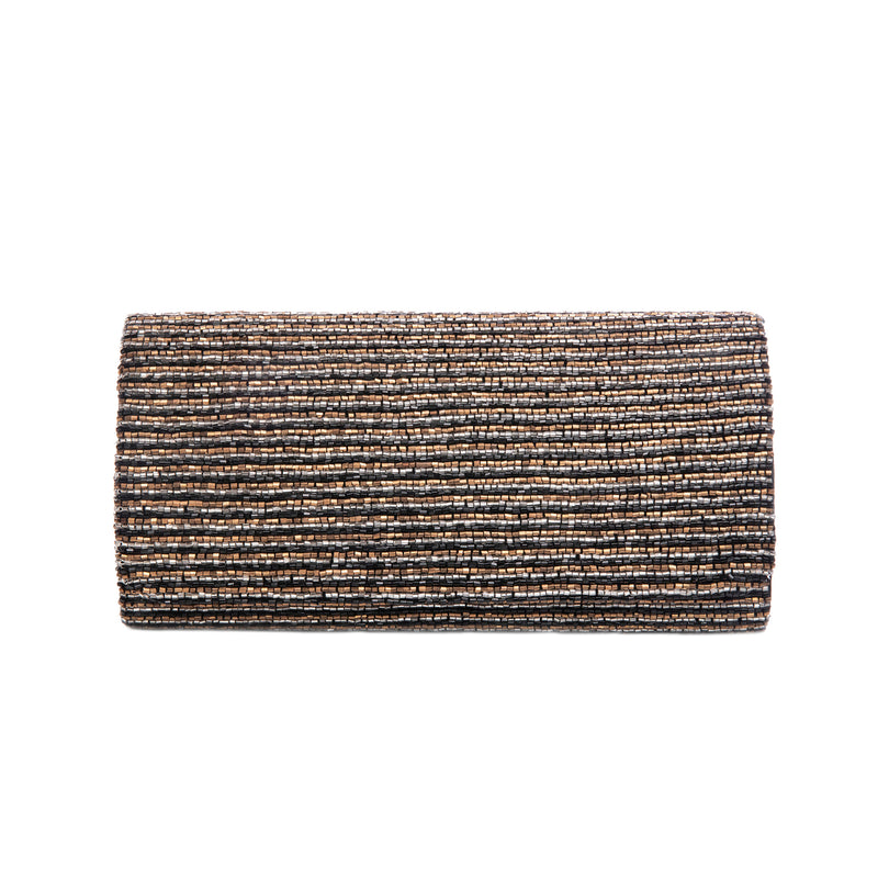 Bronze and Black Three Layered Ocean Clutch - clutch-it-india