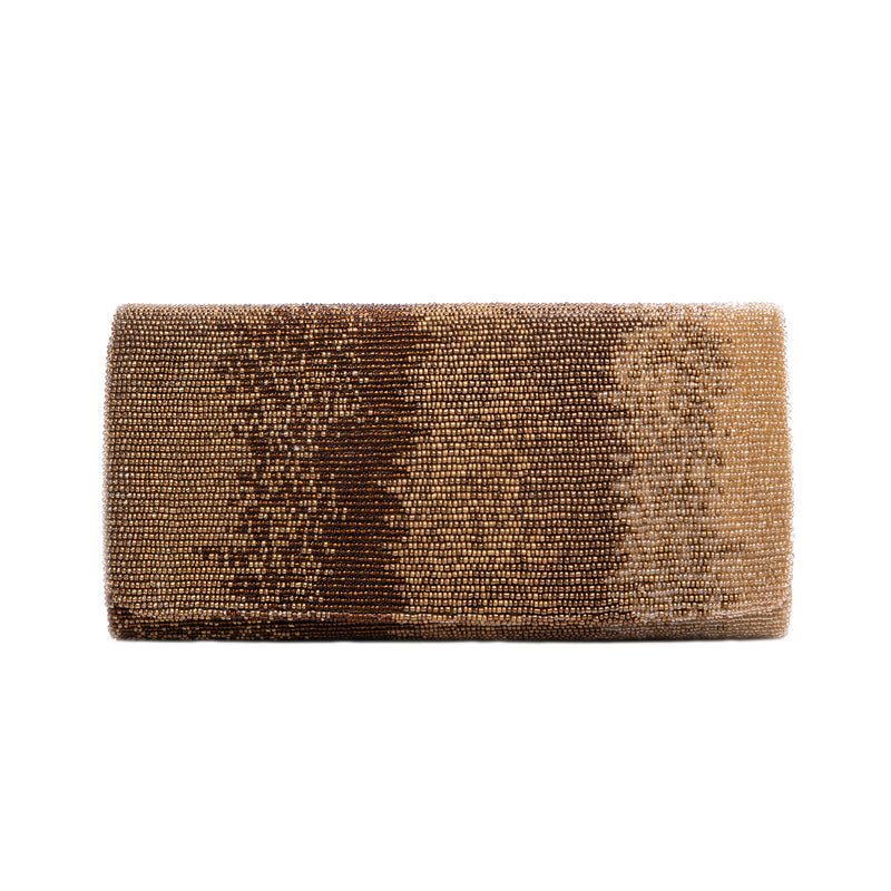 Brown and Gold Motley Clutch - clutch-it-india