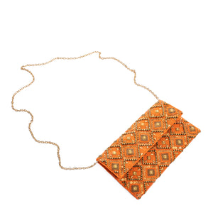 Orange Eklat Clutch - clutch-it-india