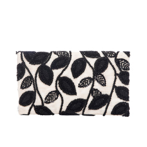Black Serrate Leaf Clutch - clutch-it-india