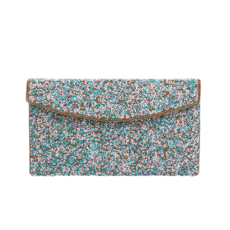 Turquoise and Pink Mystical Clutch - clutch-it-india