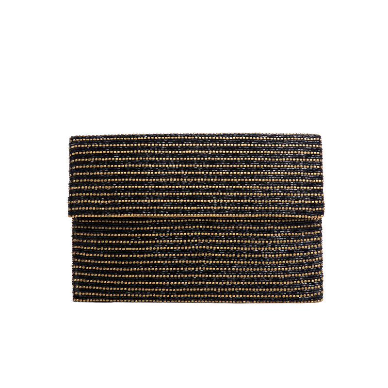 Gold and Black Ruil Clutch - clutch-it-india