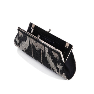 Black and Silver Spinel Clutch - clutch-it-india