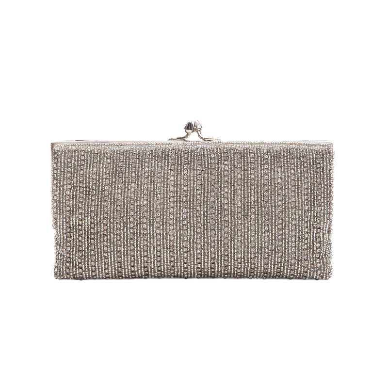 Silver Diamond Striped Frame Clutch - clutch-it-india