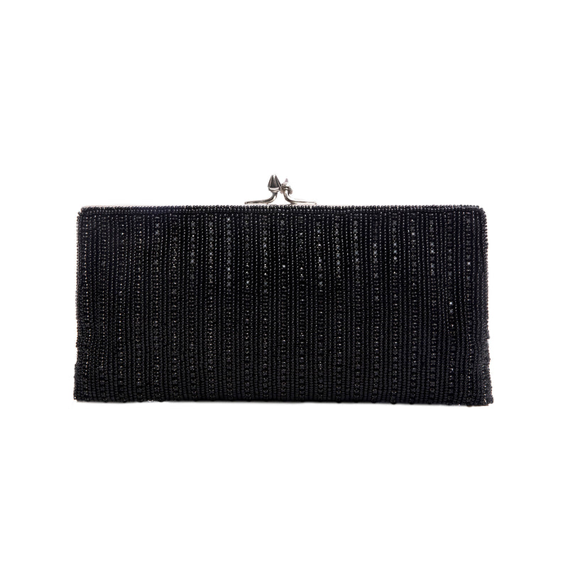 Black Diamond Striped Frame Clutch - clutch-it-india