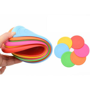 Soft Silicone Safety Flying Saucer Fun Outdoor Dog Toys, Multi-colors