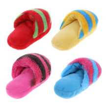 "Load image into Gallery viewer, Plush Slipper-Shaped Pet Toy with Squeaker, Fleece, Size (LxWxT): 160x90x85mm/6.29""x3.54""x3.34in, 4 Colors, 1pc"