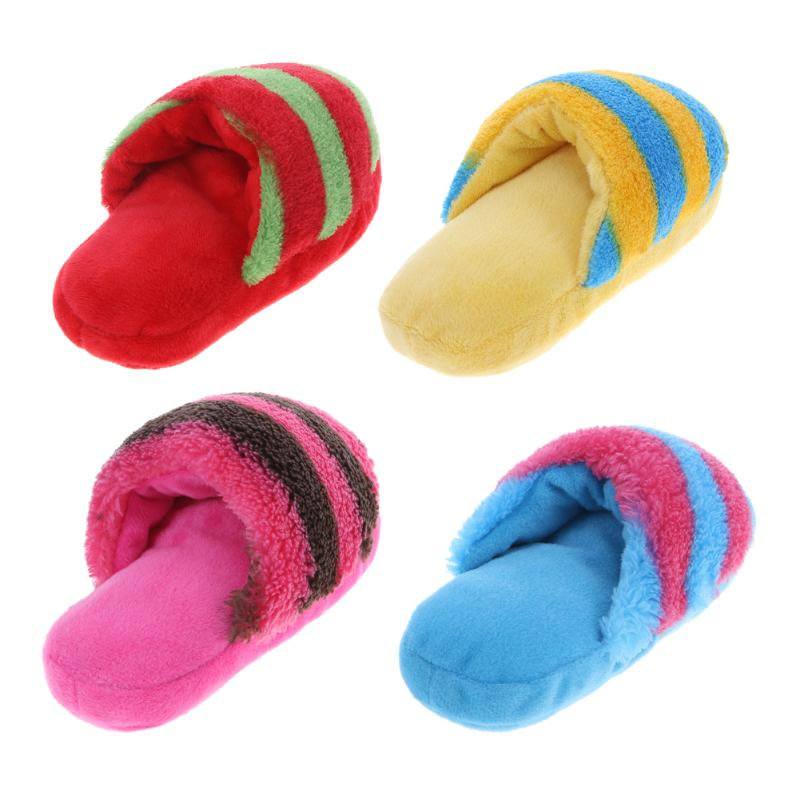 Plush Slipper-Shaped Pet Toy with Squeaker, Fleece, Size (LxWxT): 160x90x85mm/6.29