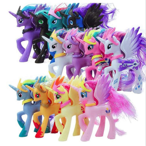 My Little Pony, Cute Fantasy Horse Figurines, PVC, 14cm, Various Characters & Rainbow Colors