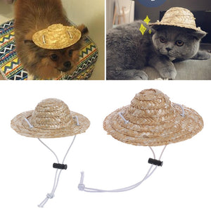 Hawaiian Style Pet Straw Sombrero Hat, Small/Large, Natural Color, 1pc