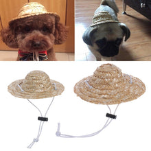 Load image into Gallery viewer, Hawaiian Style Pet Straw Sombrero Hat, Small/Large, Natural Color, 1pc