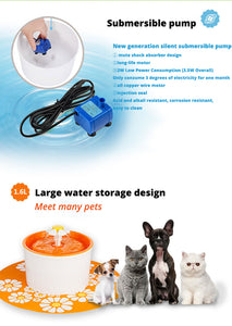Automatic Dispenser Pet Water Fountain with Filter, NO LED or Timer, 3 Colors, 50g-1500g