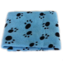 "Load image into Gallery viewer, Lovely Pet Paw Print Fleece Throw Blanket, Soft & Warm, Size: approx 24""x29"", Various Colors, 1pc"