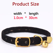 Load image into Gallery viewer, Small Flocked Collar & Brass Rivet Heads with Bell, Quick Release, Adjustable, Various Colors, 1pc