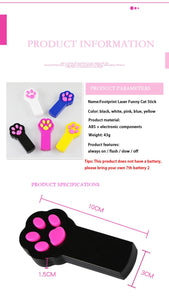 Paw Shaped Cat Laser Pointer Toy, Interactive, Automatic LED Light Pen, Battery, 5 Colors, 1pc